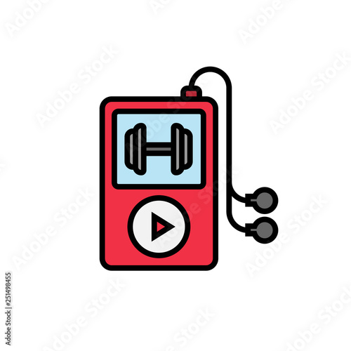 workout music playlist icon  music player with dumbbell