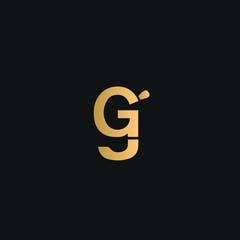 GG, GJ logo vector. Golden initial logo on black background