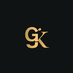 GGK, GK logo vector. Golden initial logo on black background