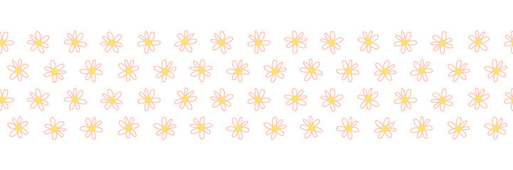 Doodle flowers seamless vector repeat border. Hand drawn floral border coral yellow. Hand drawn simple doodle ditsy flower. For spring, summer, easter, fabric, dress, wallpaper, card decor