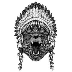 Bear Wild animal wearing inidan headdress with feathers. Boho chic style illustration for tattoo, emblem, badge, logo, patch. Children clothing