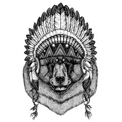 Brown bear Wild animal wearing inidan headdress with feathers. Boho chic style illustration for tattoo, emblem, badge, logo, patch. Children clothing