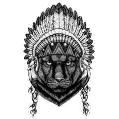 Black panther. Wild animal wearing inidan headdress with feathers. Boho chic style illustration for tattoo, emblem, badge, logo, patch. Children clothing