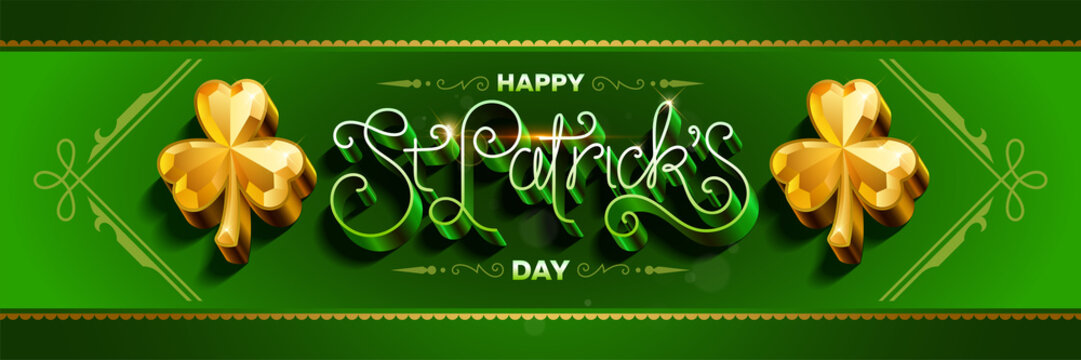 Happy saint Patricks day greeting poster with 3d metallic lettering text. Vector illustration