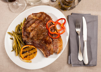 Appetizing beef steak with asparagus