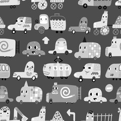 Seamless pattern with cute cars. Cartoon cars. Perfect for kids fabric, textile, nursery wallpaper. Vector Illustration.