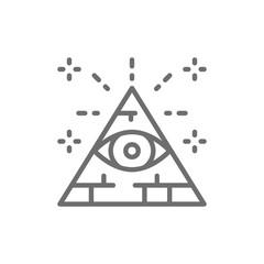 All seeing eye, triangle, pyramid line icon.