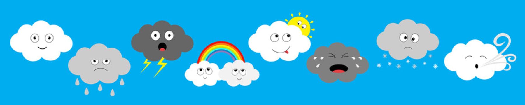 White dark cloud emoji emotion icon set line. Fluffy clouds. Sun, rainbow, rain drop, wind, thunderbolt storm lightning. Cute cartoon kawaii cloudscape Flat design Blues sky background Isolated