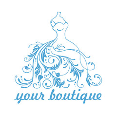 Boutique Dress Gown Logo Design Template Vector Design Illustration