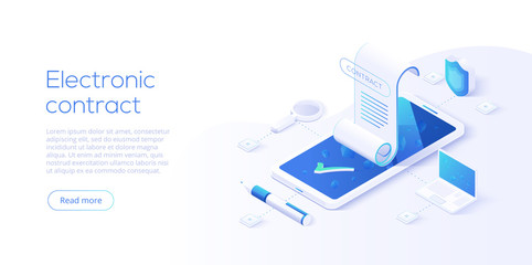 Fototapeta Electronic contract or digital signature concept in isometric vector illustration. Online document sign via smartphone or laptop. Website or webpage layout template.