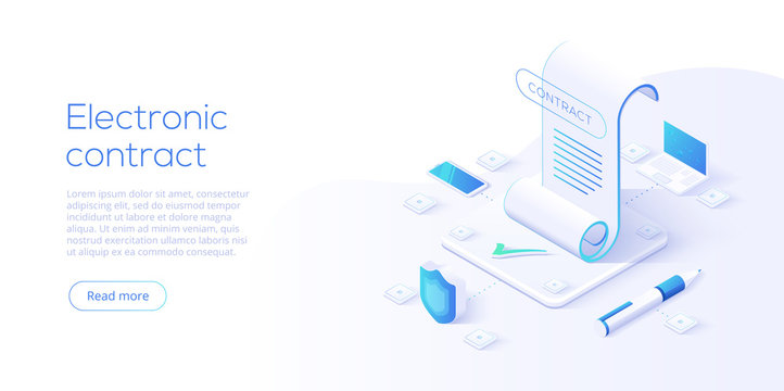 Electronic contract or digital signature concept in isometric vector illustration. Online document sign via smartphone or laptop. Website or webpage layout template.