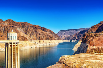 Famous and amazing Hoover Dam at Lake Mead, Nevada and Arizona Border.