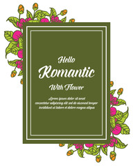 Vector illustration greeting card romantic with pink flower frame white backdrop hand drawn