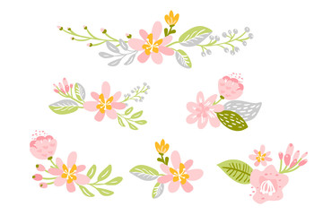 Set of Vector isolated flat flower on white background. Spring scandinavian floral hand drawn nature illustration wedding design. For greeting card, print, children book