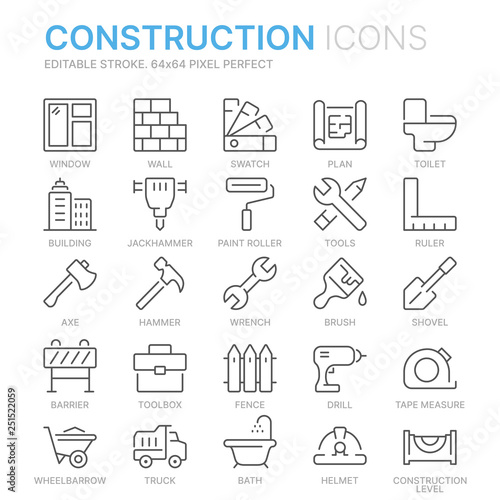 Collection of construction related related line icons  64x64 Pixel