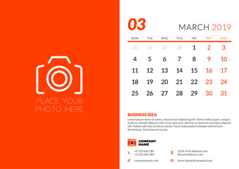 March 2019. Desk calendar design template with place for photo. Week starts on Monday. Vector illustration