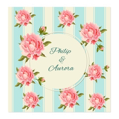 Vector botanical banners with pink peony flowers. Romantic design for natural cosmetics, perfume, women products. Wedding invitation. Vector illustration with delicate peonies.