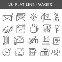 20 flat line icon. Simple icons about creative professions. Сoworking. Office work. Clock, letter, group of people, books, folders. Vector illustration.