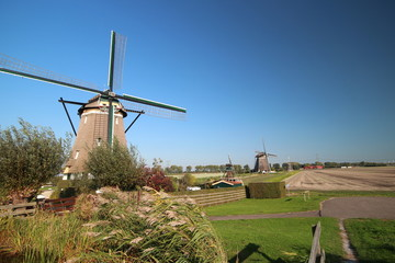 Windmills still working to keep the Tweemanspolder in Zevenhuizen dry in the Netherlands