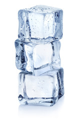 Ice cubes tower, isolated on white background