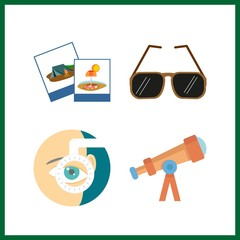 4 lens icon. Vector illustration lens set. ophthalmology and telescope icons for lens works