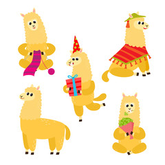 Vector set of cartoon funny alpaca isolated on white background.