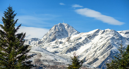 view of Pic du Midi de Bigorre in the french Pyrenees with snow