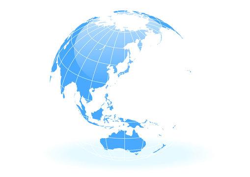白い背景と青色の地球と罫線・緯線-ベクターイラスト
