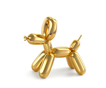 Golden balloon dog isolated on white. Clipping path included