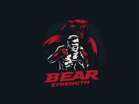 Fighter mixed martial arts with bear.