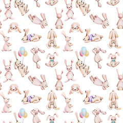 Seamless pattern with watercolor cute rabbits, hand drawn on a white background