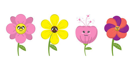 cartoon flower and summer isolated