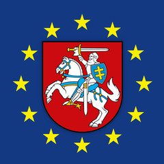 Lithuania coat of arms on the European Union flag, vector illustration