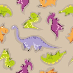 Seamless dinosaur pattern. Animal background with colorful dino. Vector illustration.