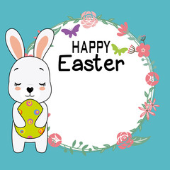 Happy easter card. Rabbit with a flower frame