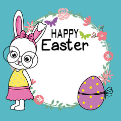 Happy easter card. Hipster rabbit with a flower frame