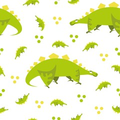 Photo sur Plexiglas Dinosaurs Seamless dinosaur pattern. Animal white background with green dino. Vector illustration.