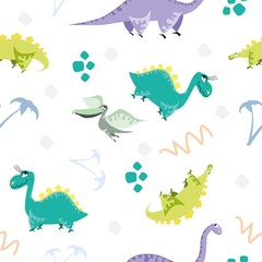 Seamless dinosaur pattern. Animal white background with colorful dino. Vector illustration.