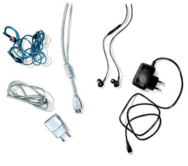 mobile and computer accessories, wires and chargers lie on the table top view, sketch vector graphics color illustration on white background