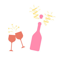 Champagne bottle vector explosion. Toast vector champagne glasses icon