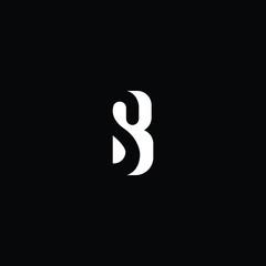 Initial letter SB BS minimalist art logo, white color on black background.