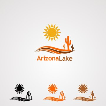 arizona lake logo vector, icon, element, and template for company