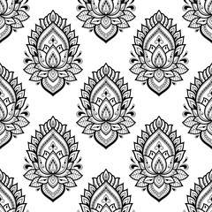 Seamless decorative ornament in ethnic oriental style. Lotus flower for Henna, Mehndi, tattoo, decoration.