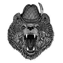 Bear Hand drawn picture for tattoo, t-shirt, emblem, badge, logo, patch