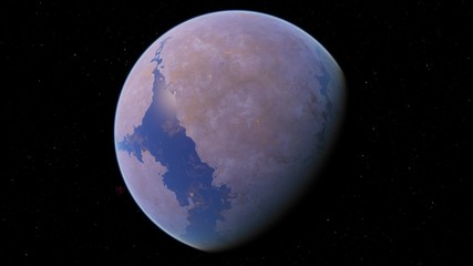 4K Beautiful violet purple exoplanet with a sea 3D illustration orbital view, planet from the orbit (Elements of this image furnished by NASA)
