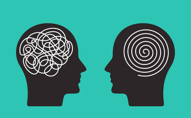 Two heads of a person with the opposite mindset. concept of chaos and order in thoughts. flat vector illustration isolated Wall mural