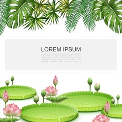 Wall Mural - Realistic Tropical Plants Colorful Template