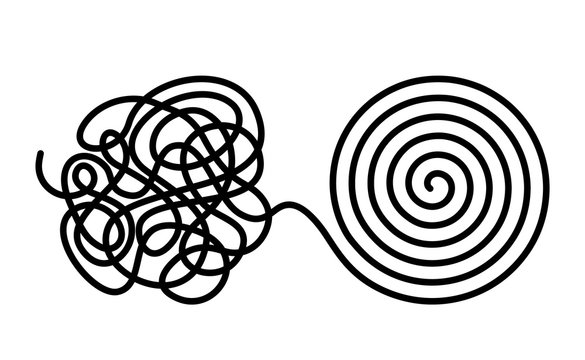 Chaos and disorder turns into a formed even tangle with one line. Chaos and order theory. flat vector illustration isolated