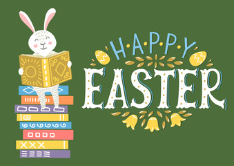 Happy Easter. Easter bunny reading book on book stack.