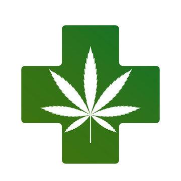 cannabinoid treatment concept. Medical cross with a sheet of marijuana inside. flat vector illustration isolated